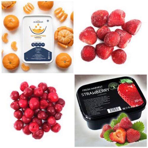 Замороженное пюре и ягоды